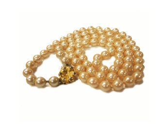 "Vintage 31"" Simulated Pearl Necklace c.1950s"