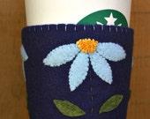 Blue Daisy Felt Cup Cozy