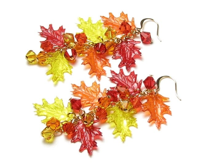 Fall Leaf Earrings, Swarovski Crystal Jewelry, Autumn Leaves, Bright Colorful Red Orange Yellow Oak Leaf, Halloween Gifts For School Teacher