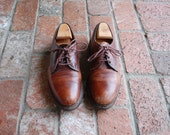 Vintage Mens 9 Allen Edmonds Fulton Plain Toe Lace Up Oxfords Distressed Leather Dress Casual Shoes Brogues Preppy Hipster Spring Fashion
