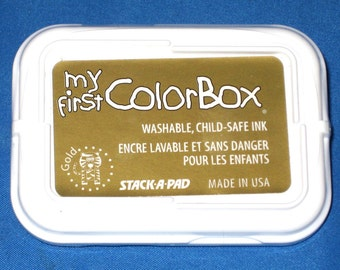 Gold Nontoxic Kids Ink Pad My First Color Box Washable Gold Ink Childs Stamp Pad Childsafe Ink Child Safe Stamp Pad Crafts for Kids