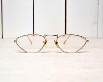 Gold Rim Glasses - 1970s Metal Frames - Curved Intellectual Hippie Glasses - Vintage Professor Glasses