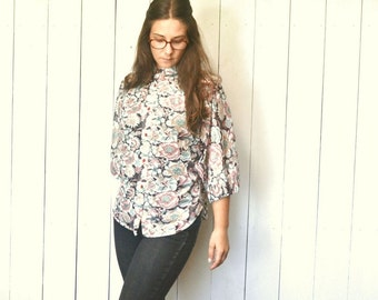 Sheer Floral Blouse - Hippie Boho 1960s Dolman Sleeve Top - Vintage Button Up High Collar Loose Fit Top - One Size - S M L