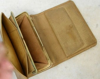 LEATHER BILLFOLD & PURSE Wallet Camel Colored Soft Leather 5 Compartments Change Purse Accordion File 3 Fold English Mid 1900's