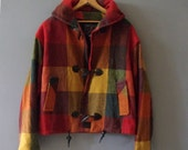 RESERVED 90's Women's Plaid Jewel Toned Wool Blend Hooded 3 Button Jacket Coat  Made in U.S.A. ~ Sz S