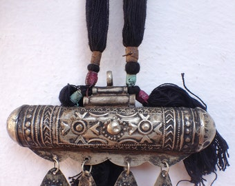 Tuareg Korkoro Necklace with Cotton Long Cord, painted Leather