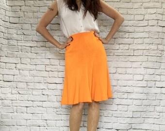 Vintage 60s Neon Knit Fluted Skirt S Orange Knee Length Trumpet High Waist