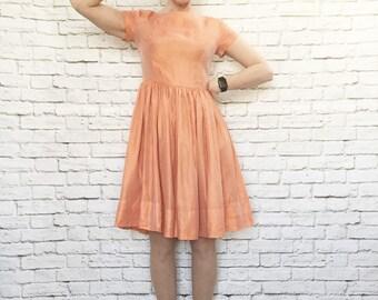 Vintage 60s Iridescent Orange Watusi Party Dress M  Short Sleeve Knee Length
