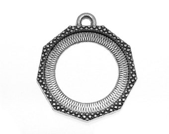 Pendant Settings : 10 Antique Silver Polygon 20mm Cabochon Settings | Double-Sided Can Hold 2 pieces 20mm Cabochons -- 94840.H2A