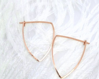 ROSE GOLD HOOPS. Triangle hoops. Modern hoops. Rose Gold earrings. Geometric hoops. wire earrings. Large hoops. WaterLelie Jewellery
