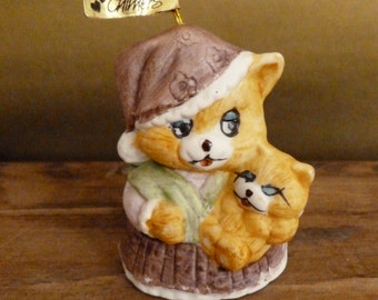 Vintage Caring Critters Mother Cat with Kitten Ornament - Jasco Porcelain Bisque Chime Ornament