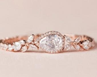 Rose Gold Bridal Bracelet, Crystal Wedding bracelet, Swarovski cz, Rose Gold,  Wedding Jewelry, Bridal Jewelry, Rose Gold Ariel Bracelet
