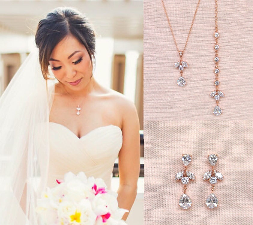 Backdrop Necklace, Rose Gold Back Drop Wedding necklace,  Bridesmaid Jewelry, Bridal Jewelry, Simple Samantha Necklace