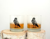 Whiskey Glasses - The Crow and Deer - Screen Printed Rock Glasses - Whiskey Glasses - Kitchen Glasses