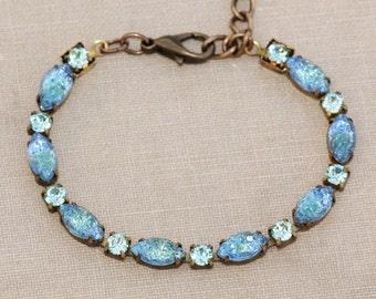 Authentic Vintage Aqua Blue Green Givre Sugar Stone Bracelet,Mountain Top,Art Deco Rhinestone Link Bracelet,Mint Green,Aquamarine,Marquise