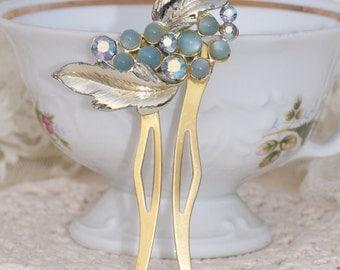 Vintage Designer Aqua Blue Moonglow Rhinestone Hair Fork,Antique Brooch to OOAK Hair Comb,Golden Leaf Leaves,Bridal,Wedding,Baby Pastel Blue