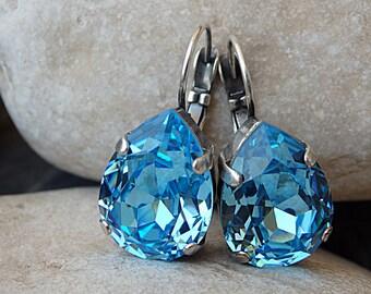 Aquamarine swarovski earrings, Teardrop Earrings, March Birthstone Earrings, Bridal Earrings, Icy Blue Sparklers Drop Crystal Earrings .
