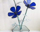 Anemone in cobalt blue stained glass
