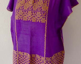 "Mexican handwoven huipil tunic puple and deep cafe floral patterns  boho resort Oaxacan Amuzgo 25"" wide x 28"" long"