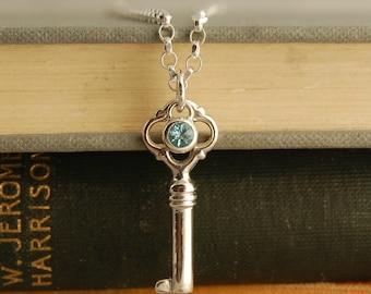 Silver Key Pendant - blue topaz pendant - blue topaz necklace - key necklace - sterling silver pendant - SKAILL