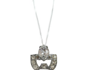 Art Deco Handcrafted Necklace Bling Bridal Jewelry Wedding Gatsby Necklace 1920s Rhinestones Sterling Silver Chain 1000540 16E