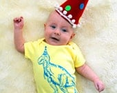 Party Hat Dinosaur Funny Screen Printed Baby Onesie - Yellow with Blue