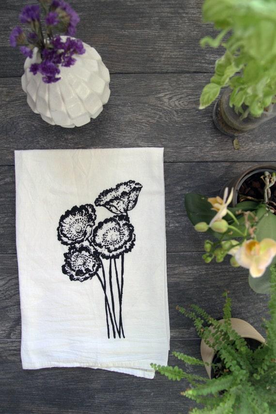 Poppy Flowers Cotton Flour Sack Kitchen Tea Towel