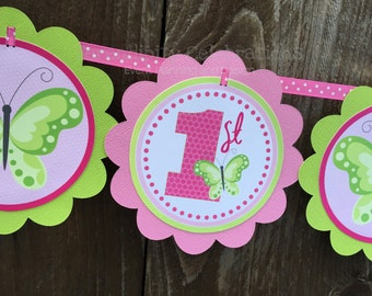 Butterfly Banner, Personalized Word Banner, Birthday Banner, Baby Shower Banner, Butterfly Party Banner, 1st Birthday, Spring, Photo Prop