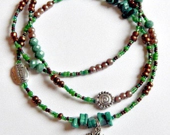 Malachite Tree of Life Waistbeads, Green Waist Beads, Belly Chain, Belly Beads