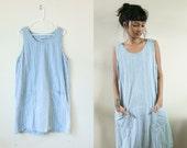 Plaid Denim Jumper Dress / 90s Overalls Pocket Dress / Denim Sleeveless 90s Checkered Print Plaid / Small Medium Large Blue Knee Length
