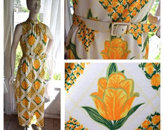Vintage 1960s/70s White Sleeveless Belted Floral Maxi Dress with Yellow Flower Design Size: Medium // Summer Dress // Tulip Dress