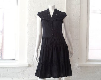 Black Lace Mini Dress 90s Vintage Cotton Fit and Flare Ruffle Grunge Goth Lolita Witch Buffy Small Full Skirt Steampunk Boho Peasant Dress