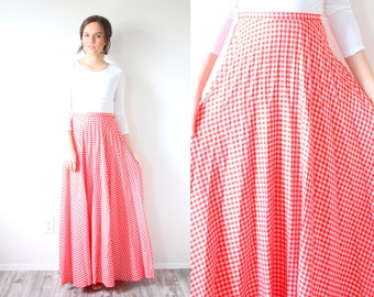 Vintage classic maxi gingham red skirt // summer checkered red skirt // long checkered skirt // maxi skirt // XSmall christmas skirt / small