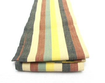 Japanese Casual Obi. Striped Cotton Tsumugi Pongee. Red Blue Yellow Green (Ref: 1498)