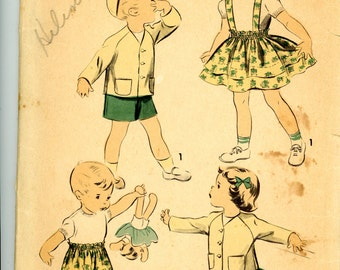 1950 Girl's Suspender Skirt and Jacket or Boy's Jacket and Shorts Sewing Pattern, Advance 5468, Size 3