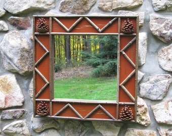 Twig and Pinecone Mirror in Burnt Sienna Crackled Finish