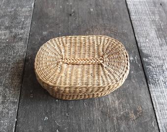 Vintage Oval Basket with Lid / Small Basket