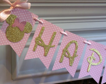 New....Gold and Pink Minnie Happy Birthday Banner, Minnie Mouse Inspired Banner, Minnie Banner, Minnie Birthday Banner, (MINN-GP)
