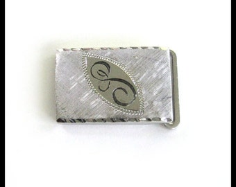 """Sterling Silver Belt Buckle / Monogram """"S"""" / Vintage 1960s / Men's Accessory / Traditional / Mad Men / Father's Day Gift"""