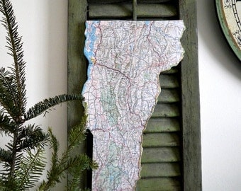 VERMONT Vintage State Map Wall Decor (Small size)