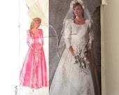 1980s Wedding Bridesmaid Dress Pattern, Simplicity 7937 Womens Basque Waist Formal Dress Train Veil Sewing Pattern Misses Size 10 Bust 32.5