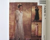 1990s Lace Wedding Dress Pattern McCall's 7426 Womens 1920s Style Formal Bridal Bridesmaid Dress Gown Sewing Pattern Size 6 Bust 30.5 UNCUT