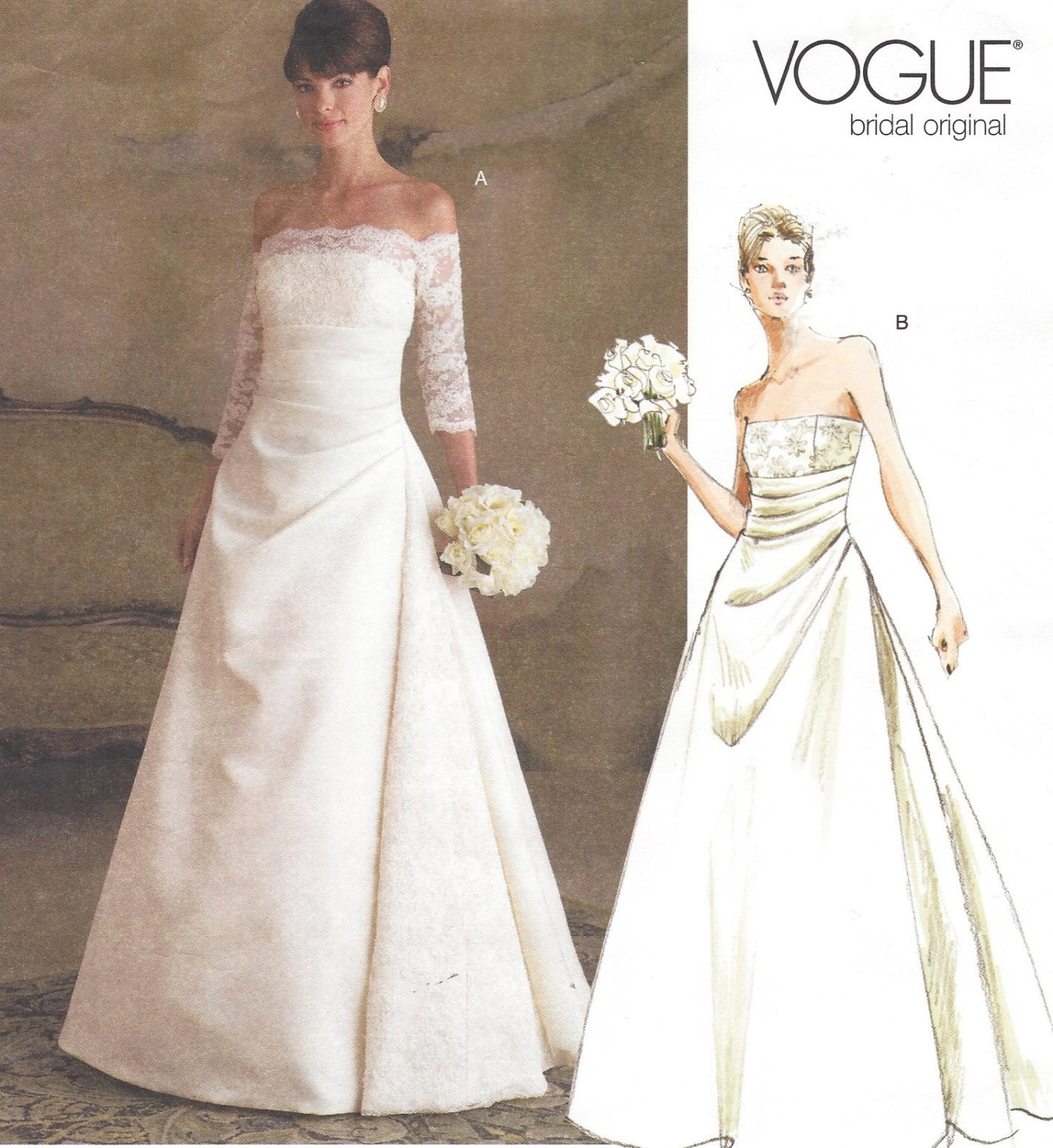 Plus Size Womens Strapless Wedding Dress Vogue Sewing Pattern
