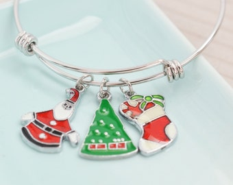 santa claus bracelet, silver bangle, stocking stuffer, christmas tree charm, holiday jewelry, black friday, cyber monday, winter jewelry
