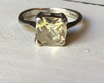 Vintage Sterling Silver Citrine Ring. Solitaire Ring. Vintage Citrine Ring. Gemstone Ring. November Birthstone. Cushion Cut Citrine - Size 8