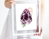 Eggplant and Purple Geometric Gemstone Tear Drop Print by Yellow Heart Art