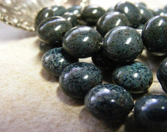 Czech Glass Beads . Picasso Natural Coin Puffy Bead .  Black . Gray Gloss . 10mm . 15ea (bk0881)