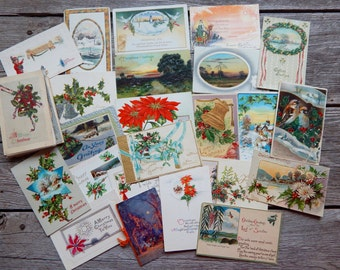 Antique Christmas Postcards, Bundle of 50 Cards, used mostly from the early 1900's