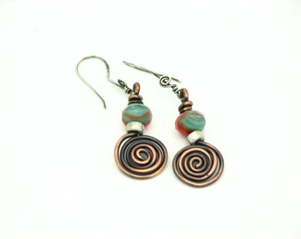 Copper Earrings Spiral Wire Wrapped Jewelry Dangle Earrings Handmade Earrings Rustic Tribal
