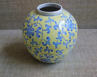 Yellow and Blue Ginger Jar Vase--Chinoiserie Ginger Jar--Asian Floral Vase